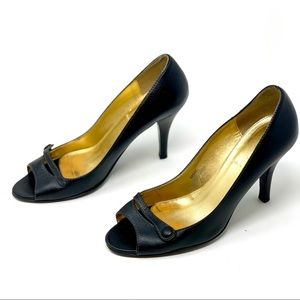 J. Crew Black Leather Peep Toe Heels, Sz 7